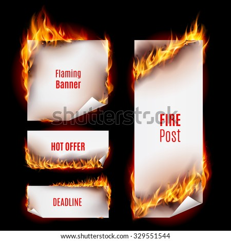 Hot fire banners set with orange flames for your design - stock vector