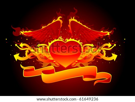 hot fire heart with wing - stock vector