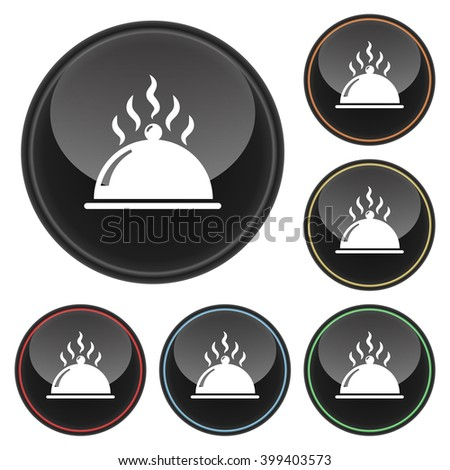 Hot Food Platter Icon Glossy Button Icon Set in With Various Color Highlights