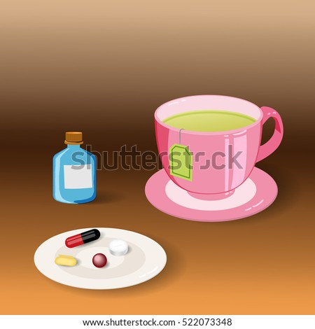 Hot green tea and medicine for colds and flu    For use as logos on cards, in printing, posters, invitations, web design and other purposes.