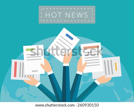 Hot news concept vector background on blue - stock vector