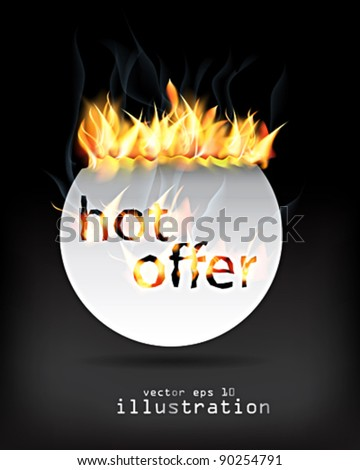 hot offer sign.vector - stock vector
