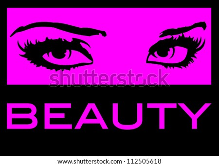 Hot Pink and Black Fashion Eyes with Beauty Text Below - stock vector