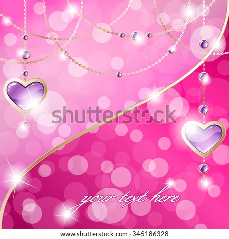 Hot pink sparkly banner with heart-shaped pendants (eps10);  - stock vector