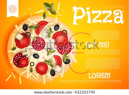 Hot Pizza Design. Tasty Flyer Template. Bright Vector illustration. - stock vector
