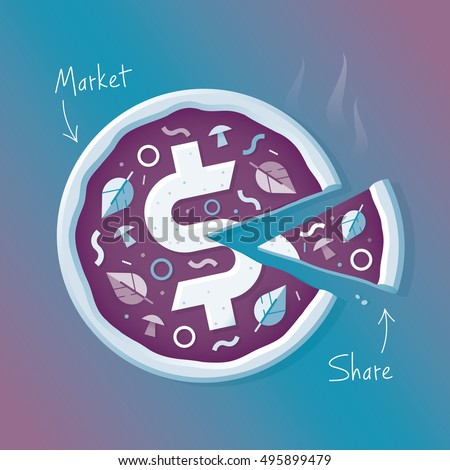 hot pizza with dollar symbol and slice presentation with market and share text idea