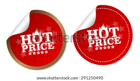 Hot price stickers - stock vector