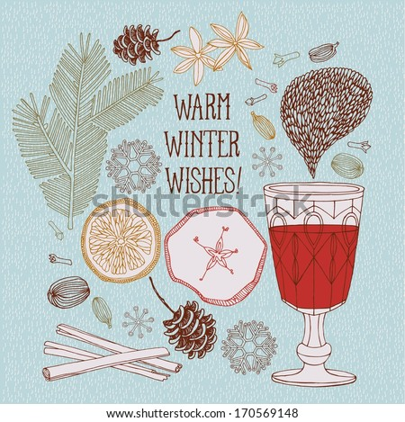 Hot red mulled wine with christmas spices, orange slice, anise and cinnamon sticks. - stock vector