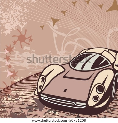 Hot rod background with a racing car. - stock vector