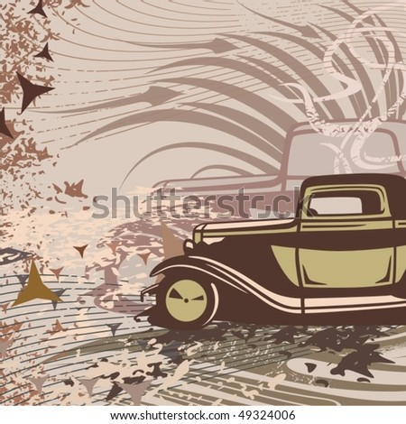 Hot rod background with a retro car.