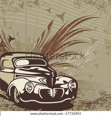 Hot rod background with a retro car - Original design