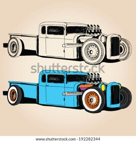 hot rod car vector sketch set.hand driving. car sketch set. - stock vector