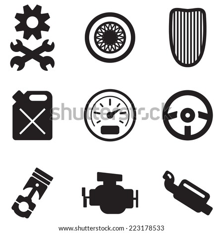 vector isolated on white background hot rod icons