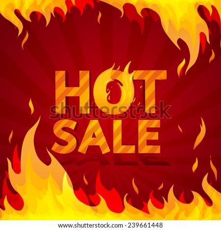 Hot sale design template. Frame of fire on a bright red background. vector - stock vector