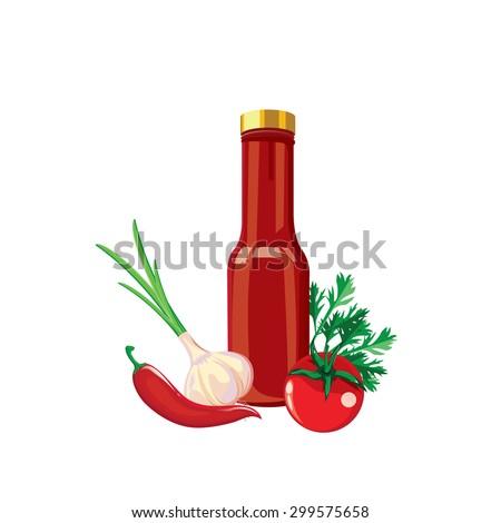 Hot sauce bottle illustration - stock vector