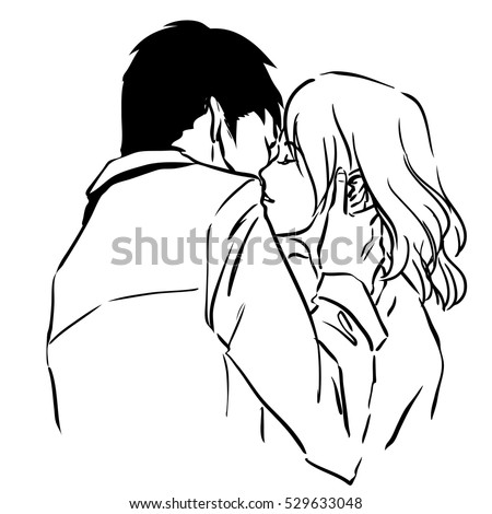 Hot sensual kiss of two young lovers. Man hugs woman and kisses her. Comics style image with contour black lines. Vector illustration
