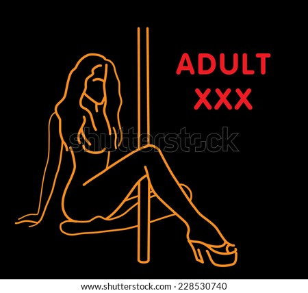 Hot  showgirl dancing on a pole. Vector illustration. - stock vector