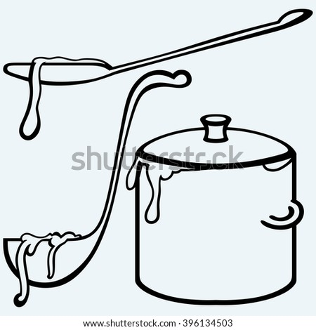 Hot soup. Pan with a ladle. Isolated on blue background. Vector silhouettes