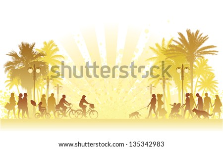 Hot summer day, people walking on a street.