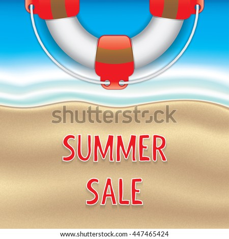 Hot summer sale background with Life Buoy, business seasonal shopping concep. - stock vector