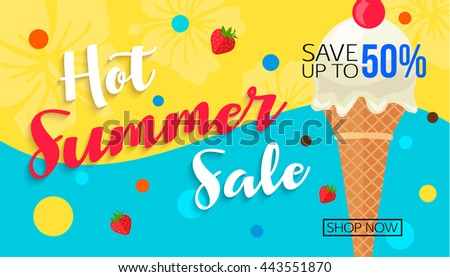 Hot summer sale banner template with ice cream cone, vector eps 10 format.