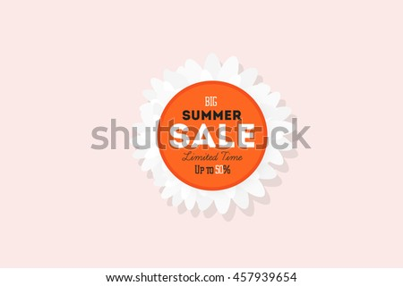 Hot summer sale banner. Vector discount template. Modern typography label. Funny text sticker design.