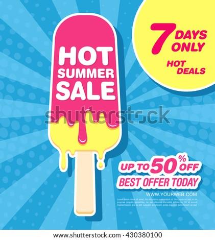 Hot summer sale. Melting ice cream - stock vector