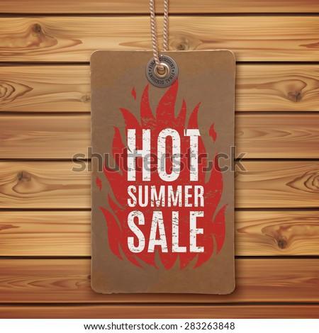 Hot summer sale. Realistic, vintage label on wooden planks. vector illustration. - stock vector