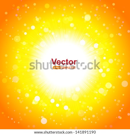 Hot sun and bright rays - stock vector