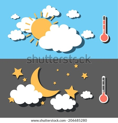 hot weather and cold weather - stock vector