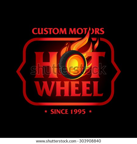 Hot Wheel in Fire flame Vintage Logo design vector template, black version. Car Logotype. T-shirt design. Concept icon for race, auto repair service, tire shop.