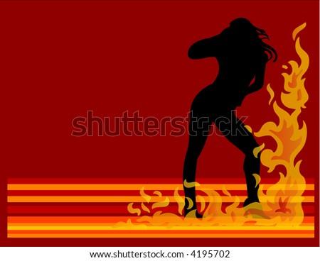 Hot Women On Fire - stock vector