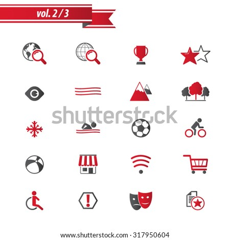 Hotel and Hotel Amenities. Professional icon set for print or Web. EPS10 vector. - stock vector
