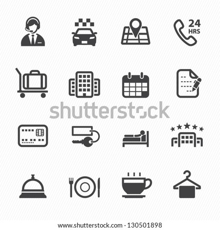 Hotel and Hotel Services Icons with White Background - stock vector