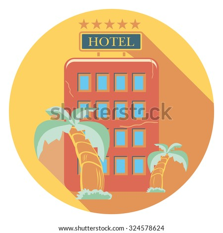 hotel and palms flat icon in circle - stock vector