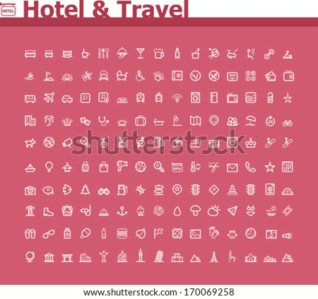 Hotel and travel icon set - stock vector