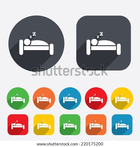 Hotel apartment sign icon. Travel rest place. Sleeper symbol. Circles and rounded squares 12 buttons. Vector - stock vector