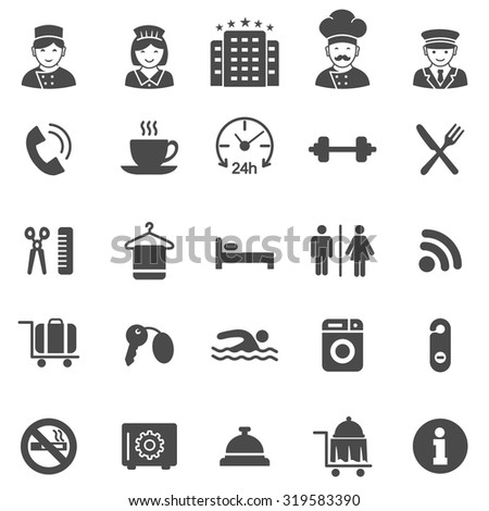 Hotel black icons set.Vector - stock vector