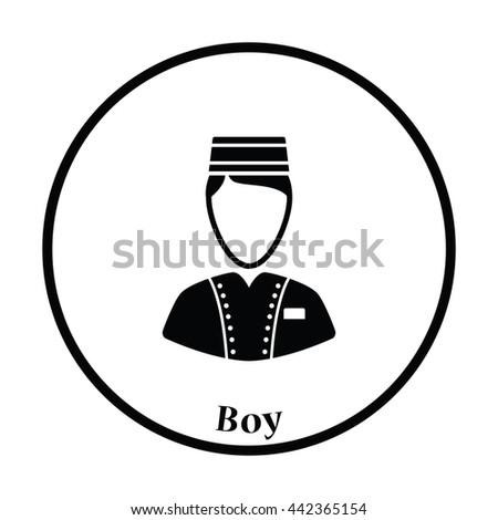 Hotel boy icon. Thin circle design. Vector illustration. - stock vector