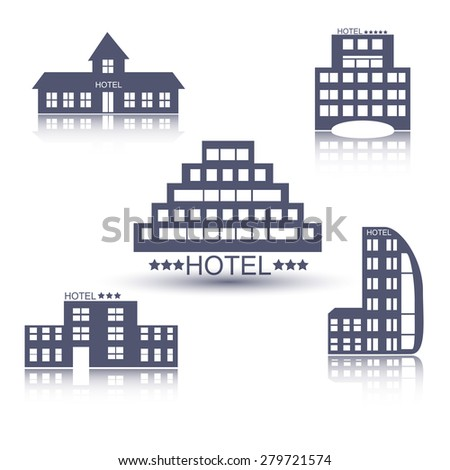 Hotel buildings flat design web icons set. Vector illustration - stock vector