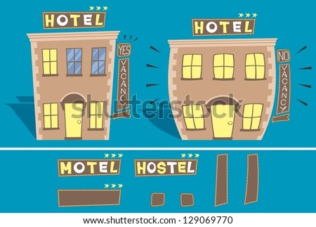 Hotel: Cartoon illustration of small hotel in 2 versions: with and without free rooms.  You can edit the signs. No transparency and gradients used. - stock vector