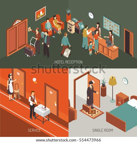Hotel Concept Isometric Banner Icons Combination Stock