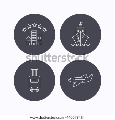 Hotel, cruise ship and airplane icons. Baggage linear sign. Flat icons in circle buttons on white background. Vector - stock vector