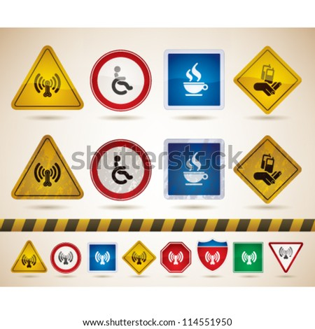 Hotel (hospitality industry) icons to illustrate miscellaneous camping features from left to right: Wireless LAN with Internet access, Wheelchair Friendly Rooms, Cafe/Bistro, Mobile Phone Reception. - stock vector