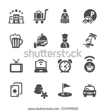 hotel icon set, vector eps10. - stock vector