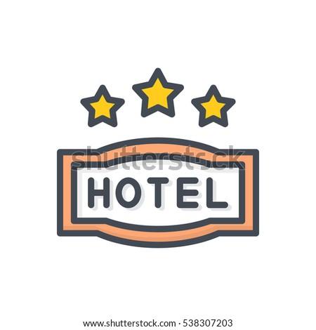 Hotel icon 3star sign stock vector 538307203 shutterstock for Maxim design hotel 3 star
