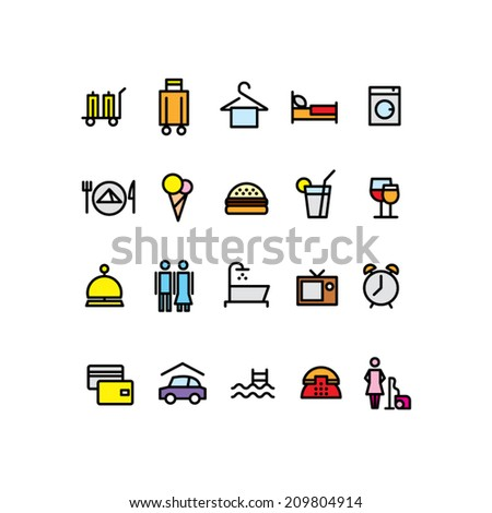 Hotel icons, color - stock vector