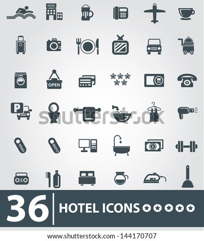 Hotel icons,Gray background version,vector