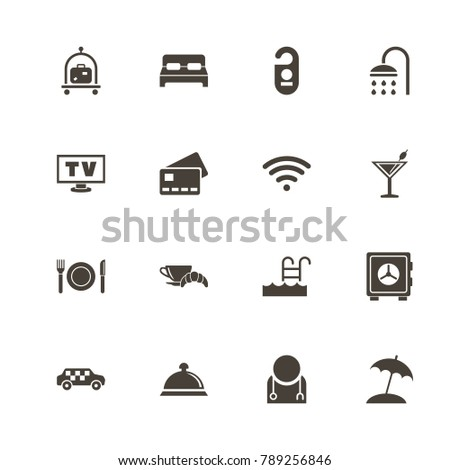 Hotel Icons Perfect Black Pictogram On White Background Flat Simple Vector Icon