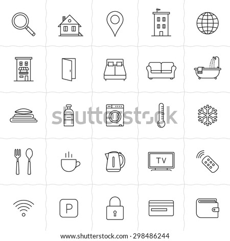 Hotel icons. Rent out lodging and accommodation booking icon set. Vector illustration - stock vector